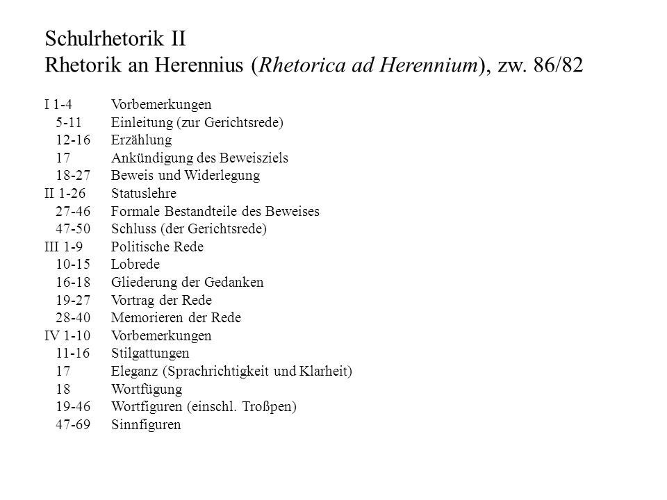 Rhetorik an Herennius (Rhetorica ad Herennium), zw. 86/82