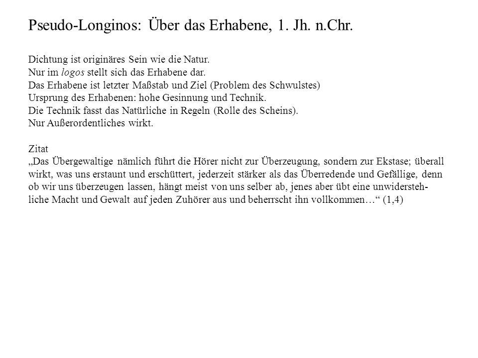 Pseudo-Longinos: Über das Erhabene, 1. Jh. n.Chr.