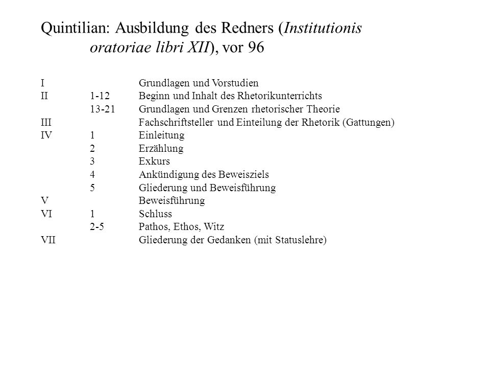 Quintilian: Ausbildung des Redners (Institutionis