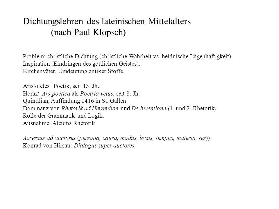Dichtungslehren des lateinischen Mittelalters (nach Paul Klopsch)