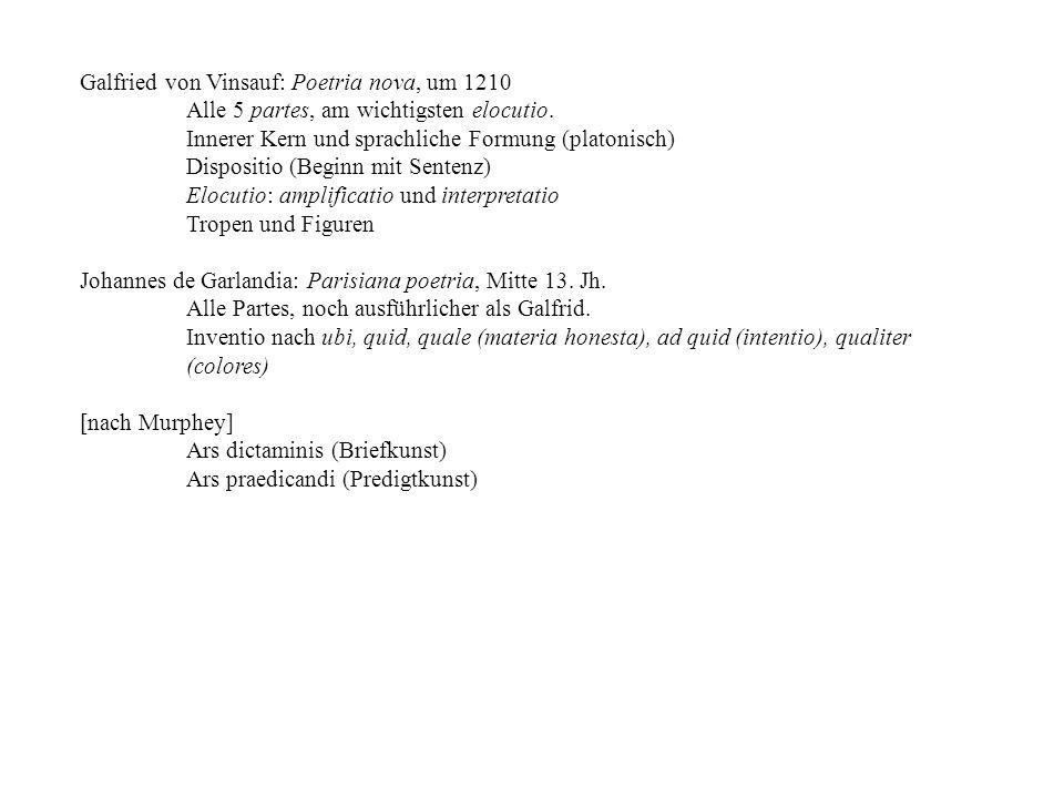 Galfried von Vinsauf: Poetria nova, um 1210