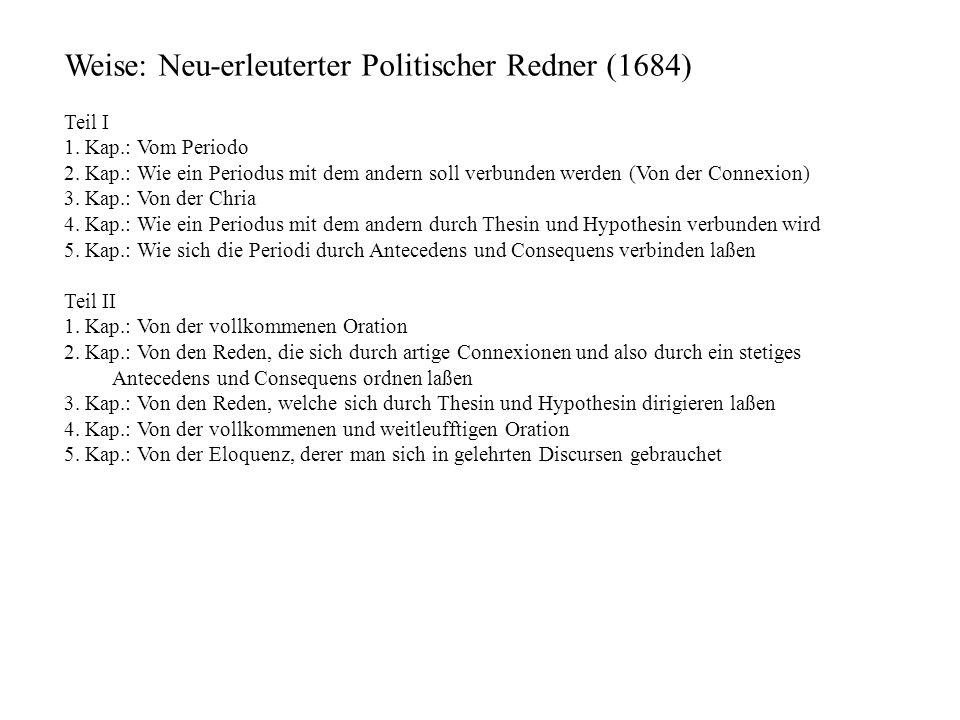 Weise: Neu-erleuterter Politischer Redner (1684)