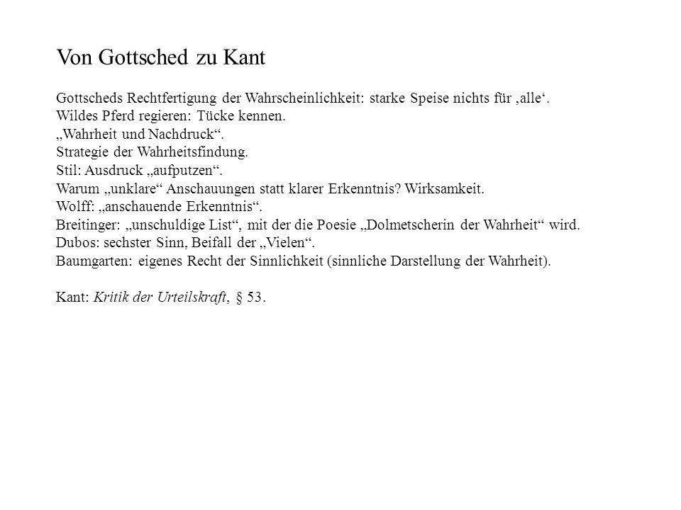 Von Gottsched zu Kant Gottscheds Rechtfertigung der Wahrscheinlichkeit: starke Speise nichts für 'alle'.