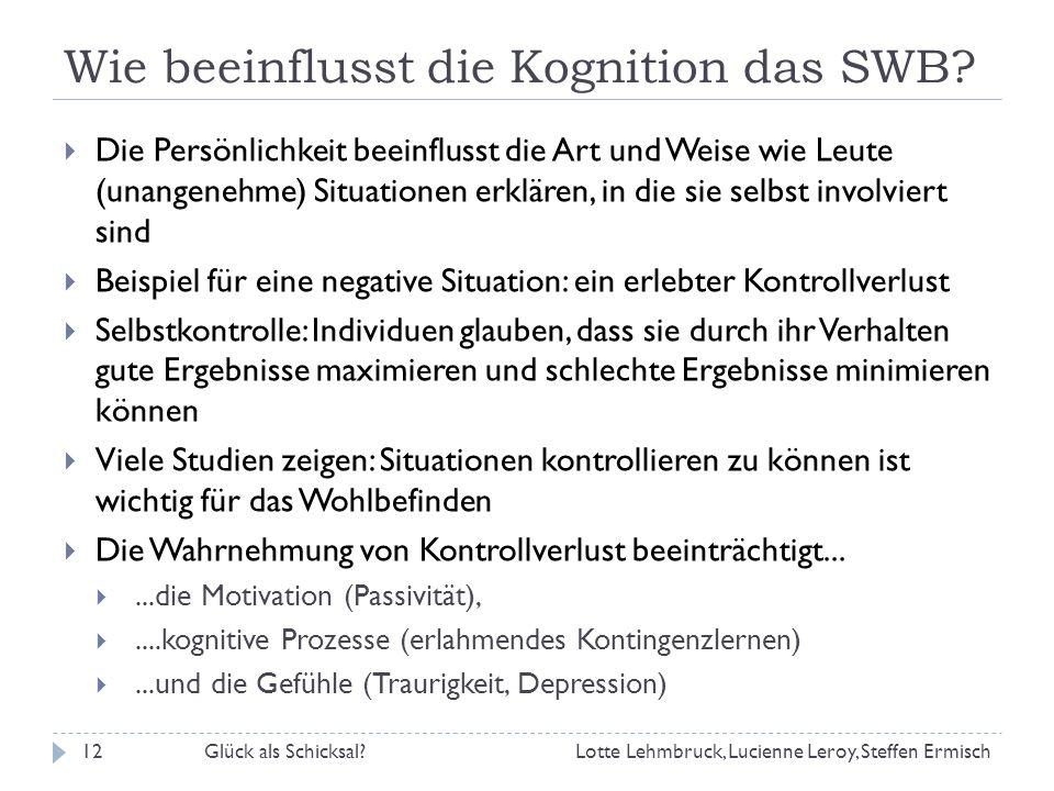 Wie beeinflusst die Kognition das SWB