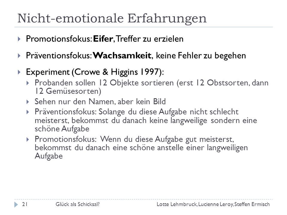 Nicht-emotionale Erfahrungen