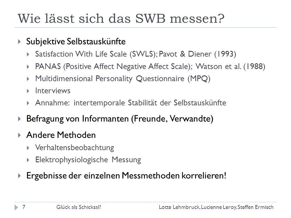 Wie lässt sich das SWB messen