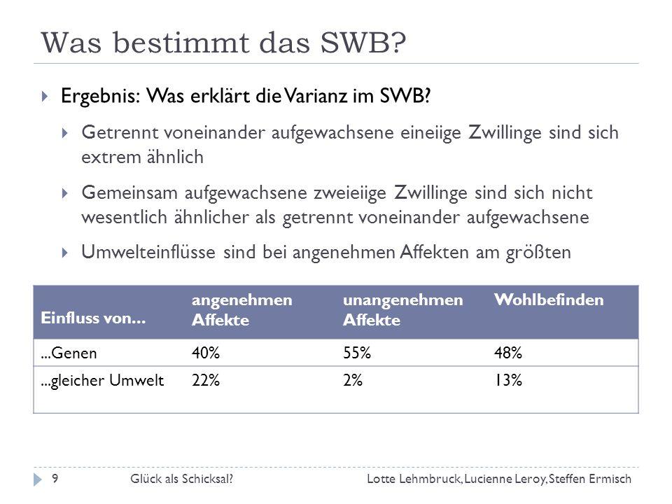 Was bestimmt das SWB Ergebnis: Was erklärt die Varianz im SWB
