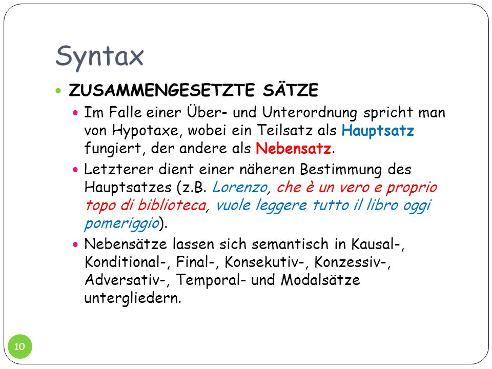 Syntax ZUSAMMENGESETZTE SÄTZE