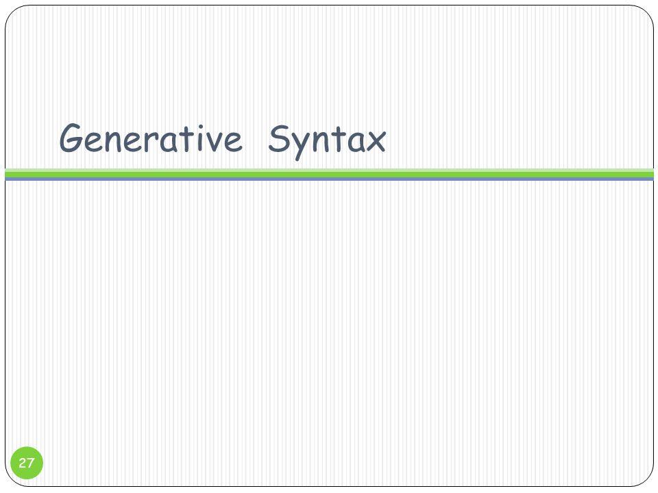 Generative Syntax