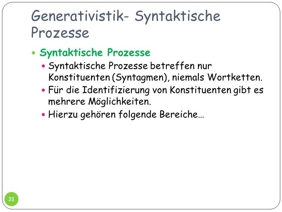 Generativistik- Syntaktische Prozesse