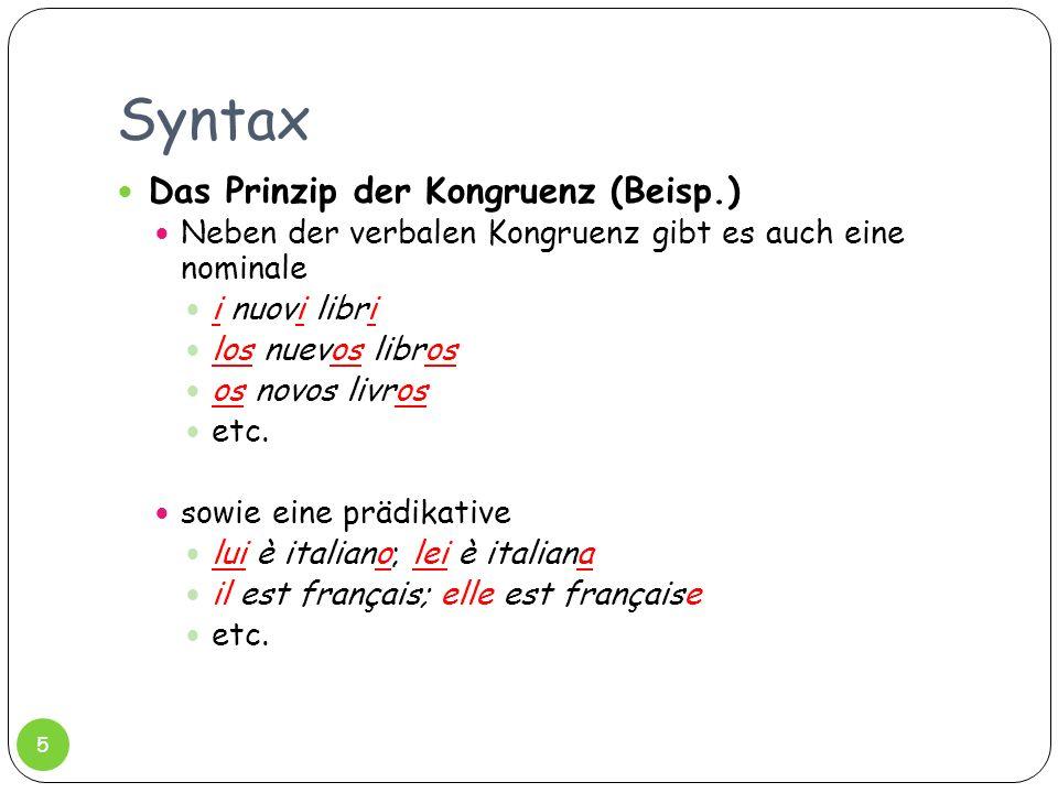 Syntax Das Prinzip der Kongruenz (Beisp.)