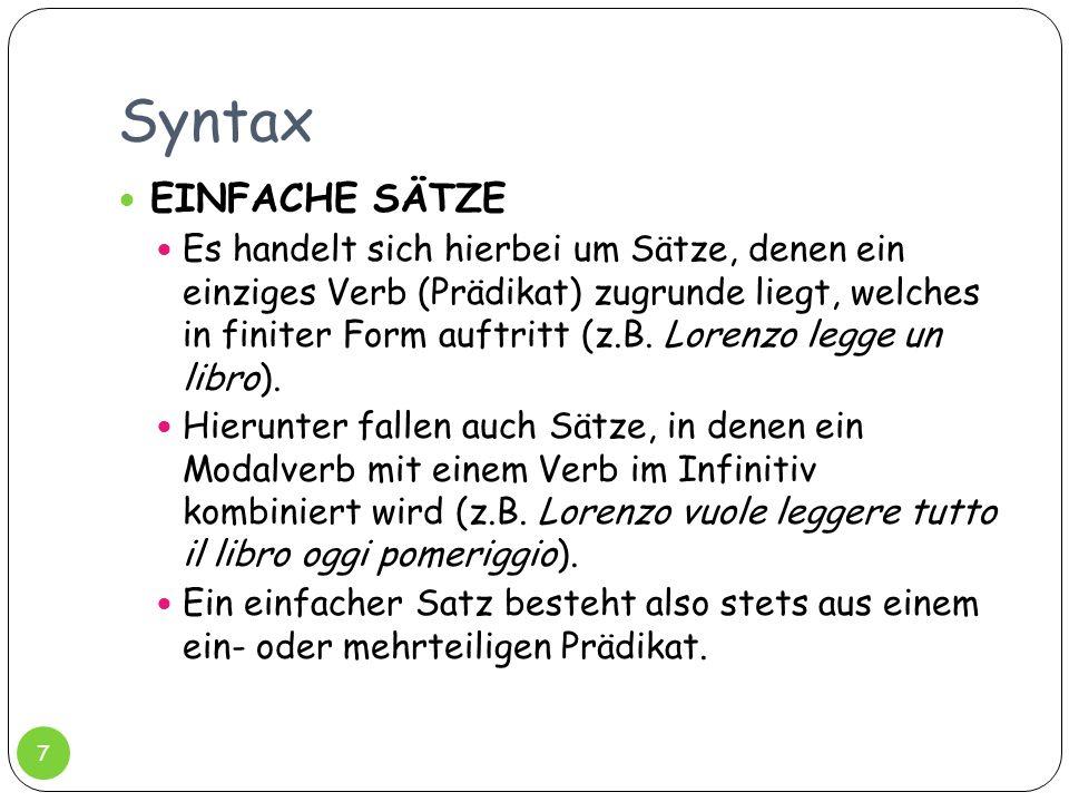 Syntax EINFACHE SÄTZE.