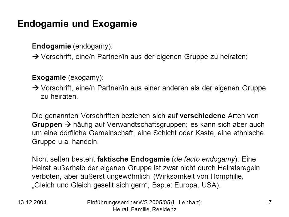 Endogamie und Exogamie