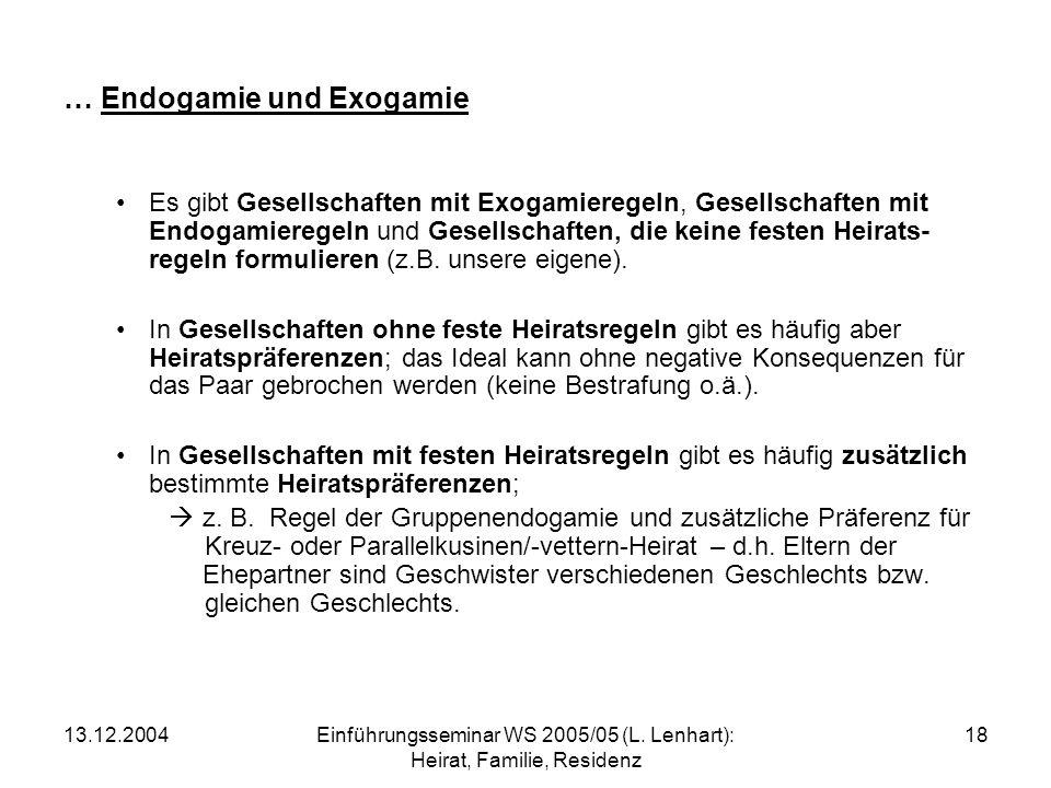 … Endogamie und Exogamie
