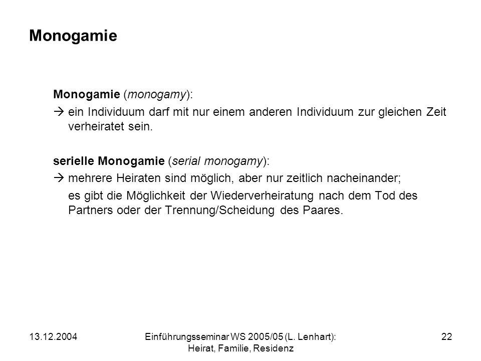 Einführungsseminar WS 2005/05 (L. Lenhart): Heirat, Familie, Residenz