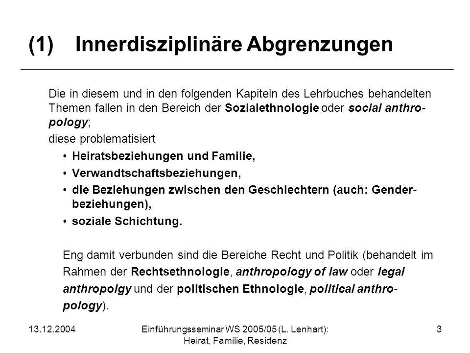 (1) Innerdisziplinäre Abgrenzungen