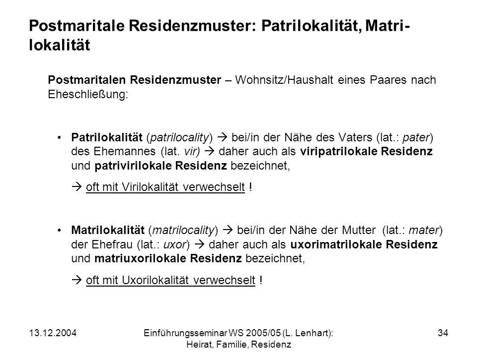 Postmaritale Residenzmuster: Patrilokalität, Matri-lokalität