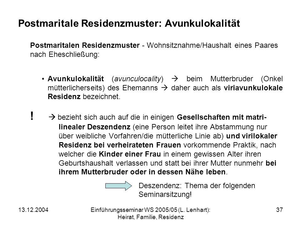 Postmaritale Residenzmuster: Avunkulokalität