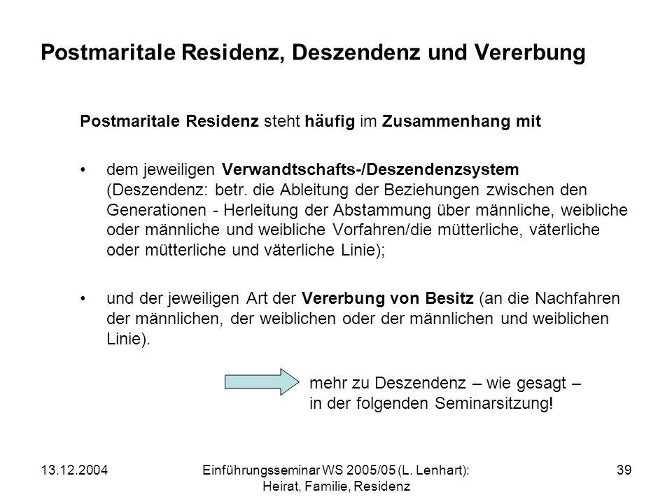 Postmaritale Residenz, Deszendenz und Vererbung