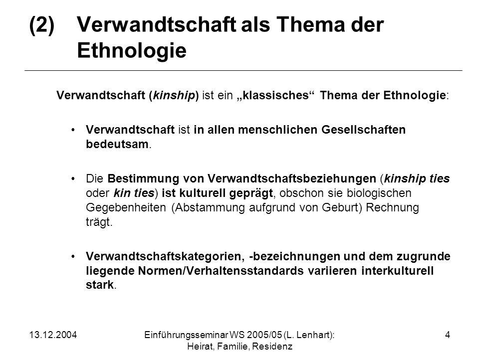 (2) Verwandtschaft als Thema der Ethnologie