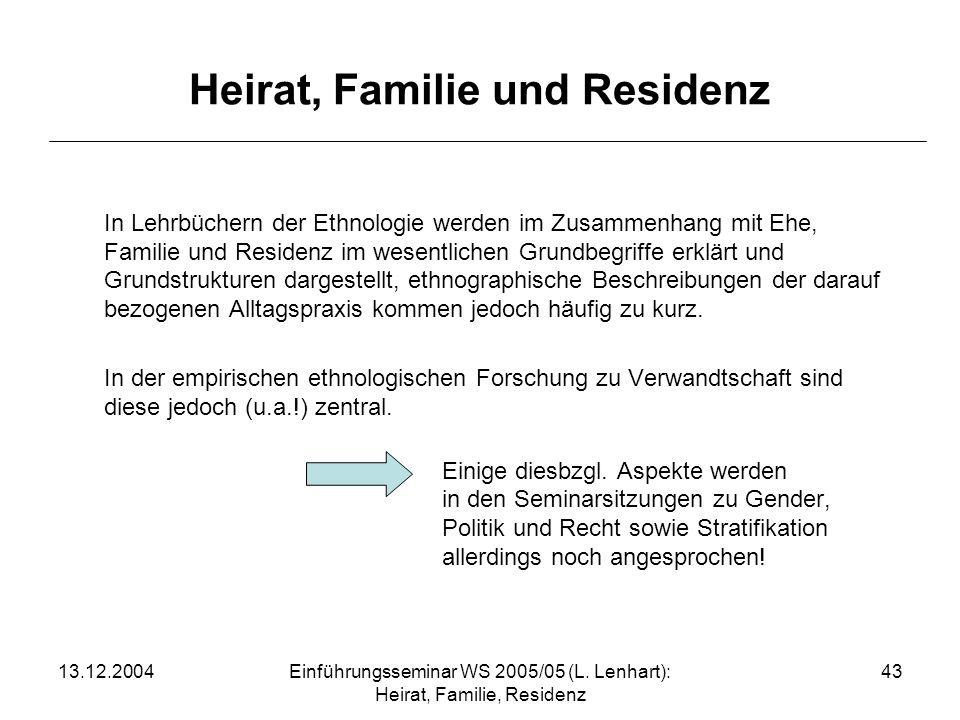 Heirat, Familie und Residenz