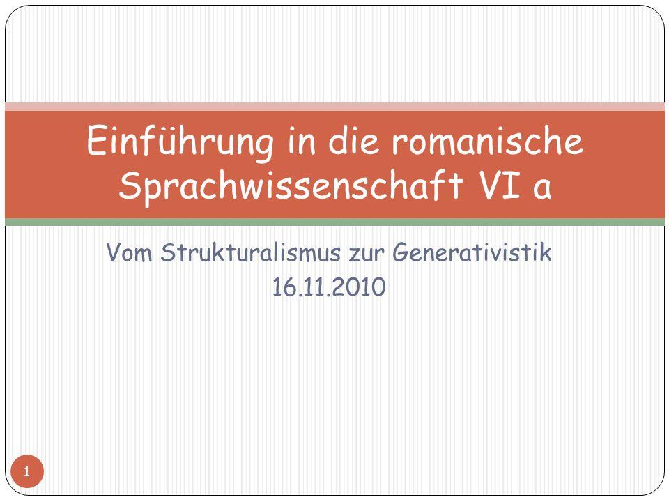 Einführung in die romanische Sprachwissenschaft VI a