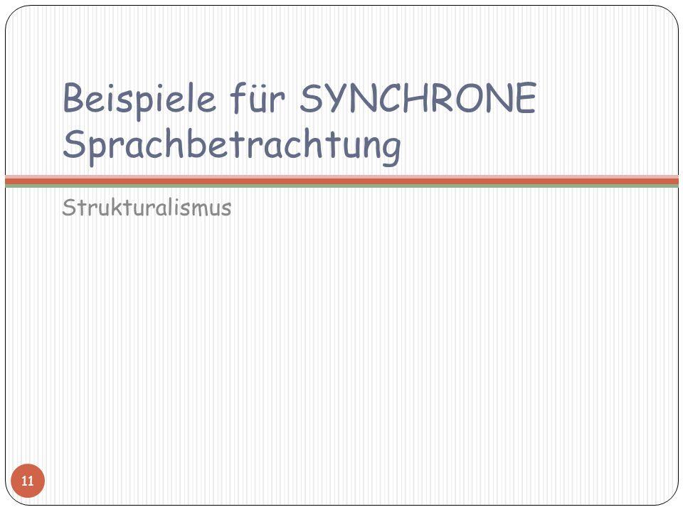Beispiele für SYNCHRONE Sprachbetrachtung