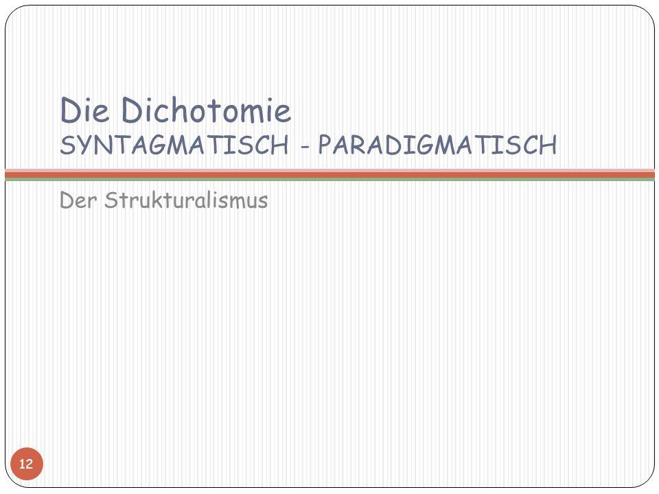Die Dichotomie SYNTAGMATISCH - PARADIGMATISCH
