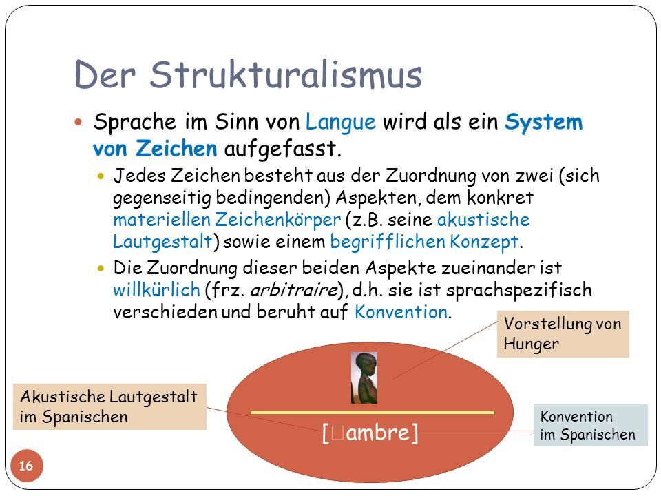 Der Strukturalismus Sprache im Sinn von Langue wird als ein System von Zeichen aufgefasst.