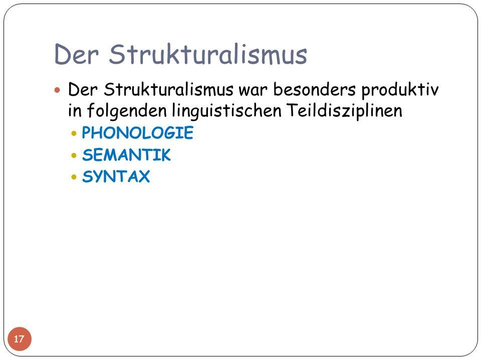Der Strukturalismus Der Strukturalismus war besonders produktiv in folgenden linguistischen Teildisziplinen.