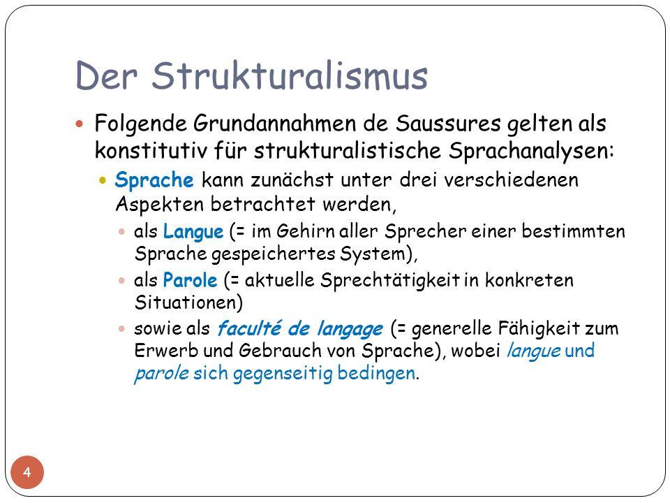 Der Strukturalismus Folgende Grundannahmen de Saussures gelten als konstitutiv für strukturalistische Sprachanalysen: