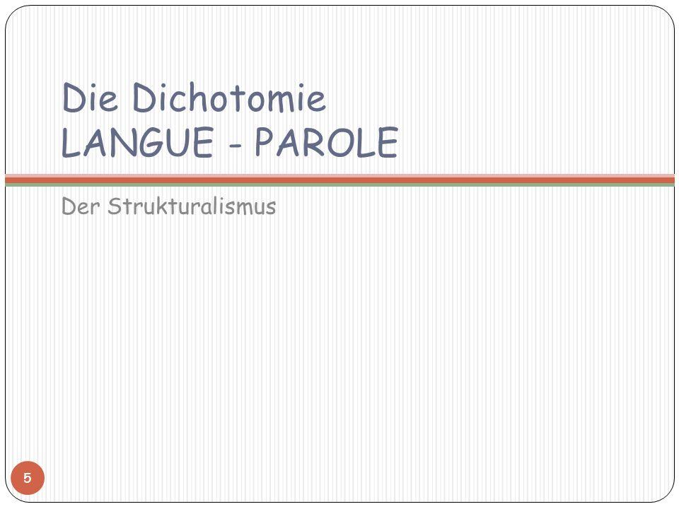 Die Dichotomie LANGUE - PAROLE