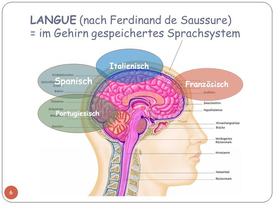 LANGUE (nach Ferdinand de Saussure) = im Gehirn gespeichertes Sprachsystem