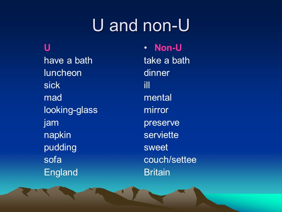 U and non-U U have a bath luncheon sick mad looking-glass jam napkin