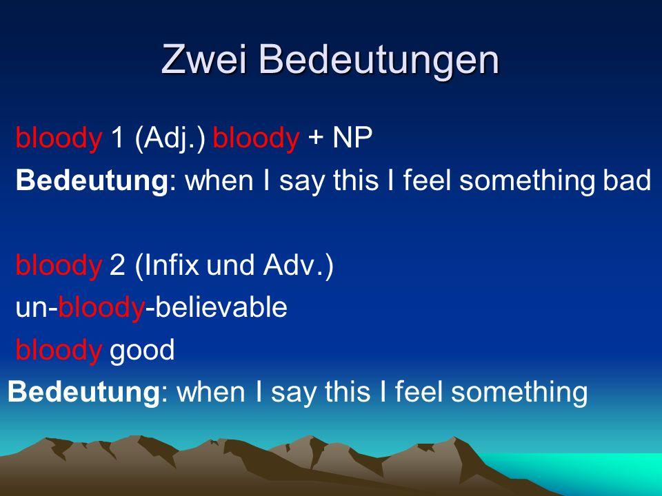 Zwei Bedeutungen bloody 1 (Adj.) bloody + NP