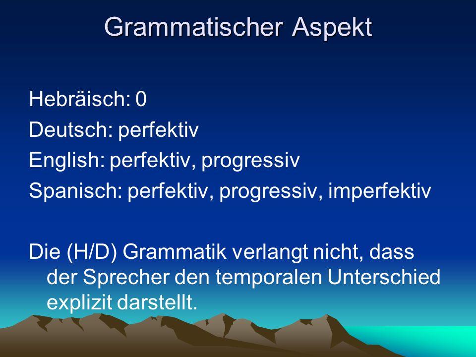 Grammatischer Aspekt Hebräisch: 0 Deutsch: perfektiv