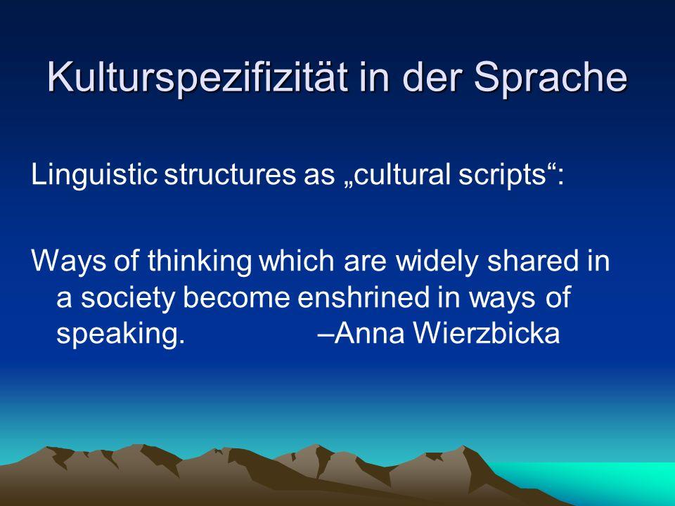 Kulturspezifizität in der Sprache