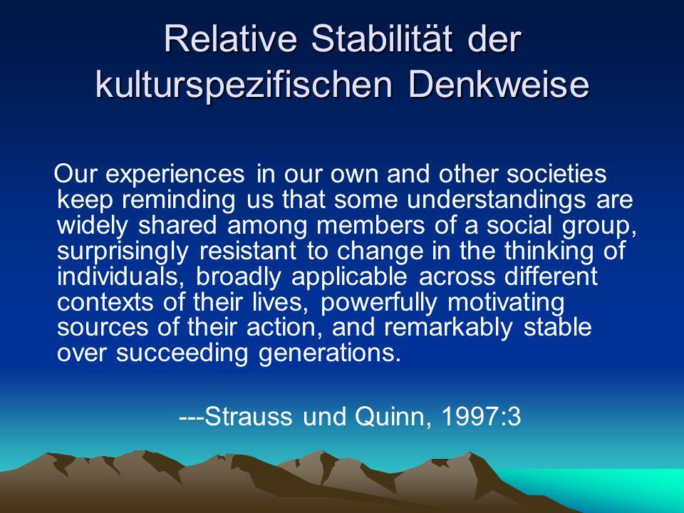 Relative Stabilität der kulturspezifischen Denkweise