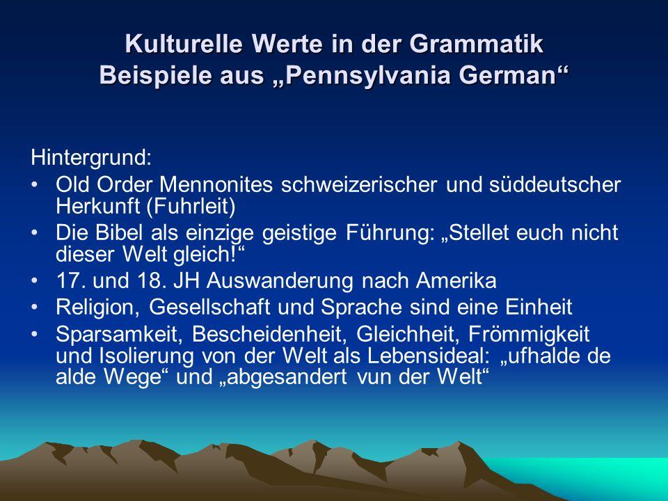 """Kulturelle Werte in der Grammatik Beispiele aus """"Pennsylvania German"""