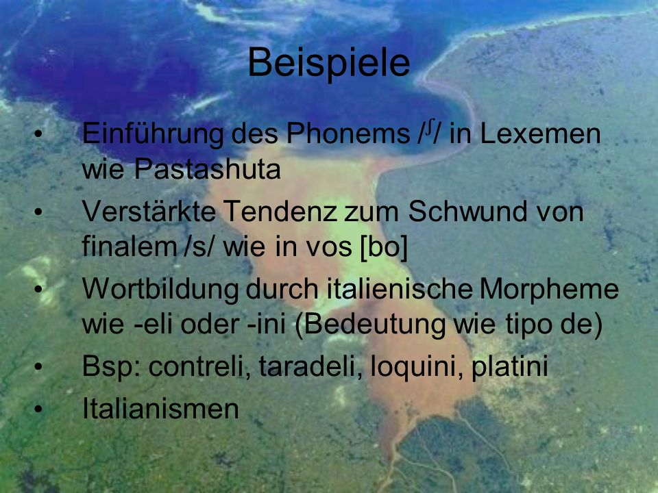 Beispiele Einführung des Phonems /ᶴ/ in Lexemen wie Pastashuta