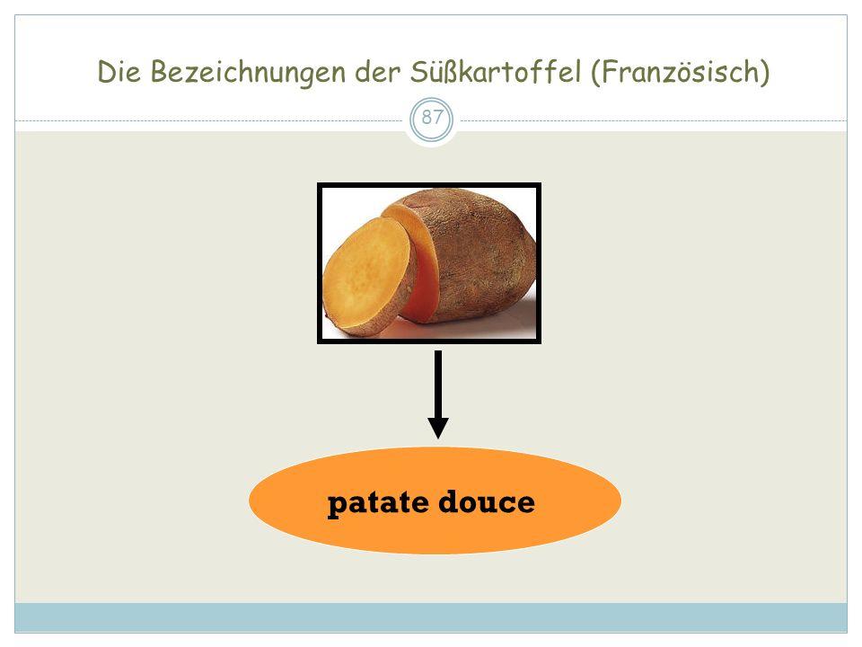 Die Bezeichnungen der Süßkartoffel (Französisch)