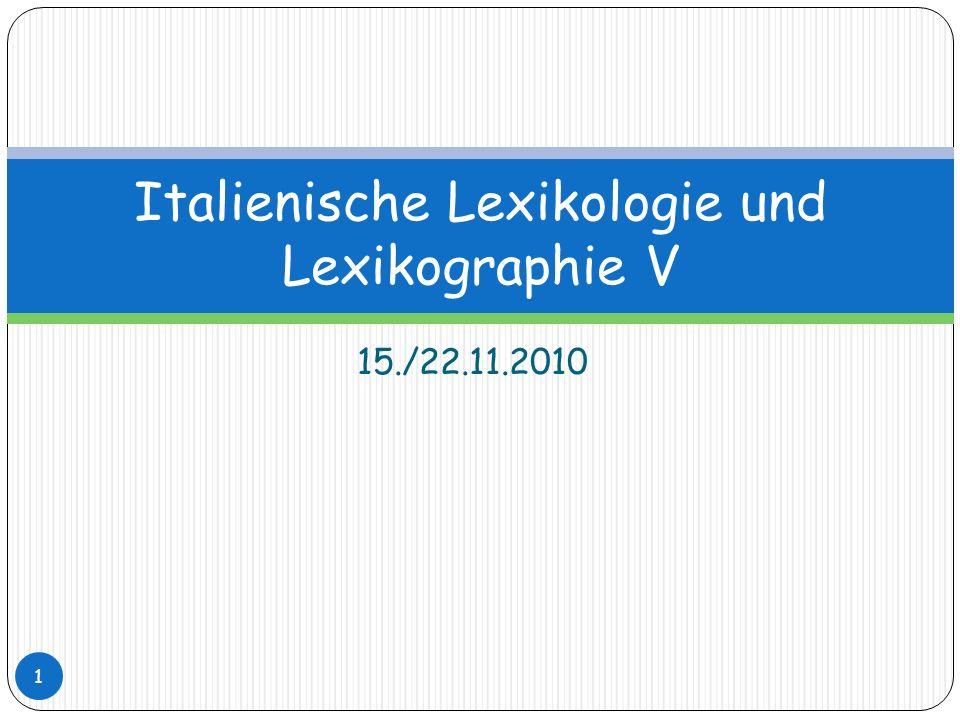 Italienische Lexikologie und Lexikographie V