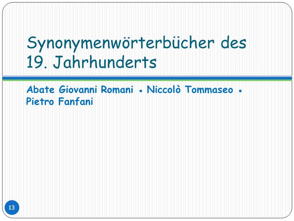 Synonymenwörterbücher des 19. Jahrhunderts