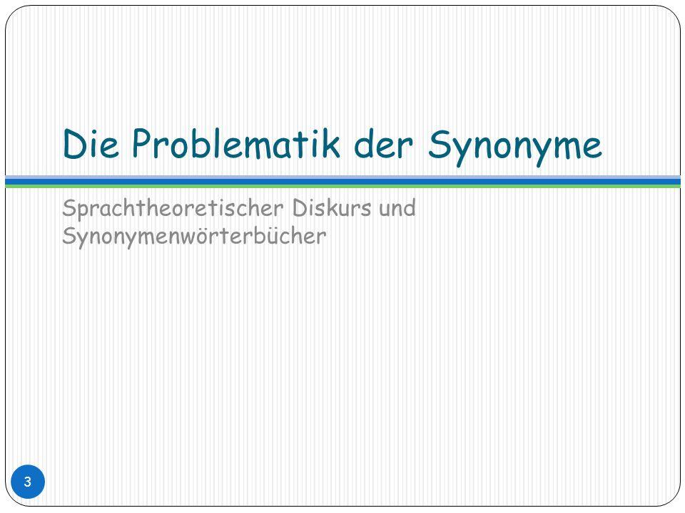 Die Problematik der Synonyme