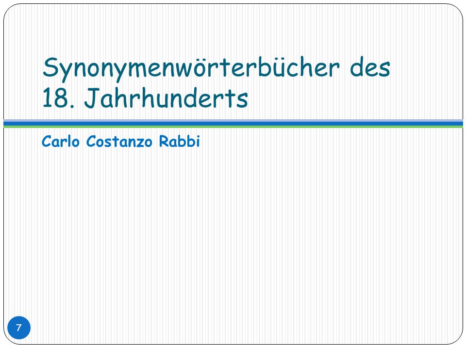 Synonymenwörterbücher des 18. Jahrhunderts