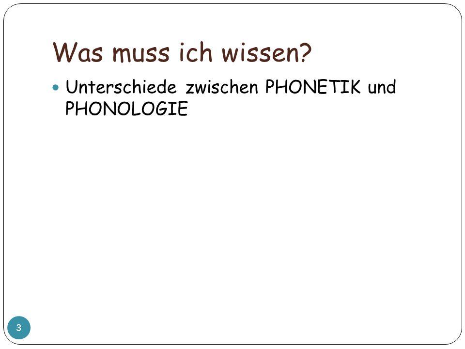 Was muss ich wissen Unterschiede zwischen PHONETIK und PHONOLOGIE