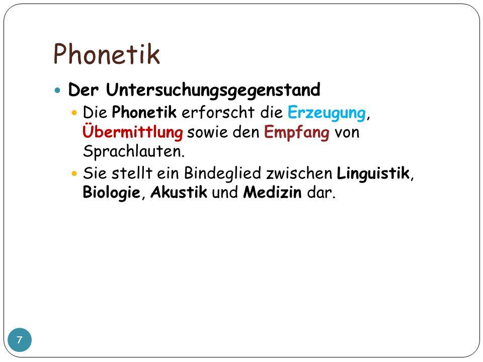 Phonetik Der Untersuchungsgegenstand