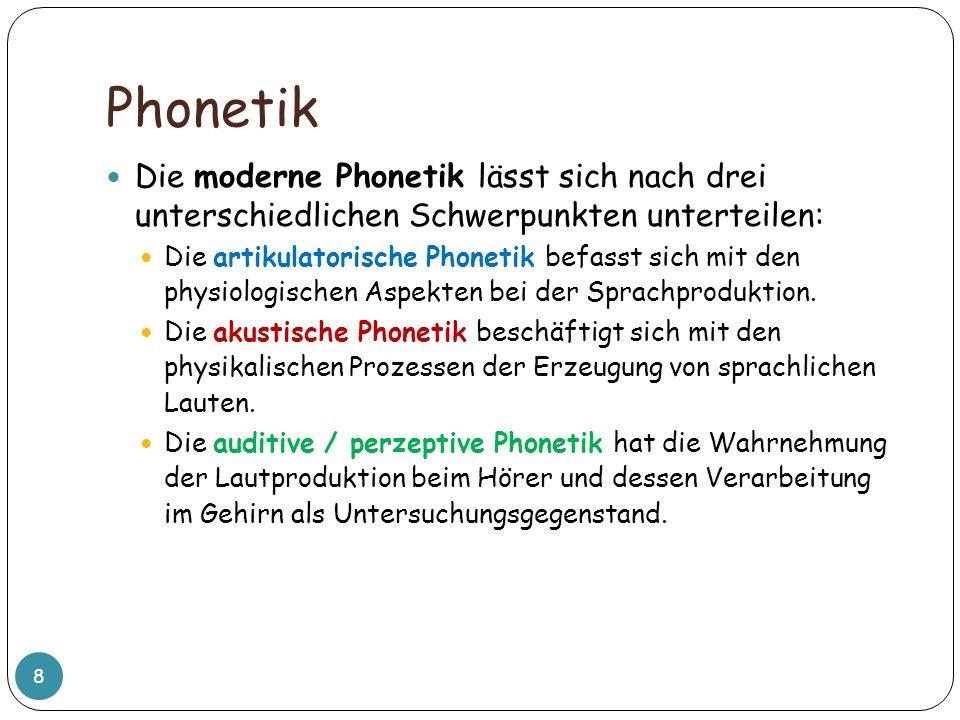 PhonetikDie moderne Phonetik lässt sich nach drei unterschiedlichen Schwerpunkten unterteilen: