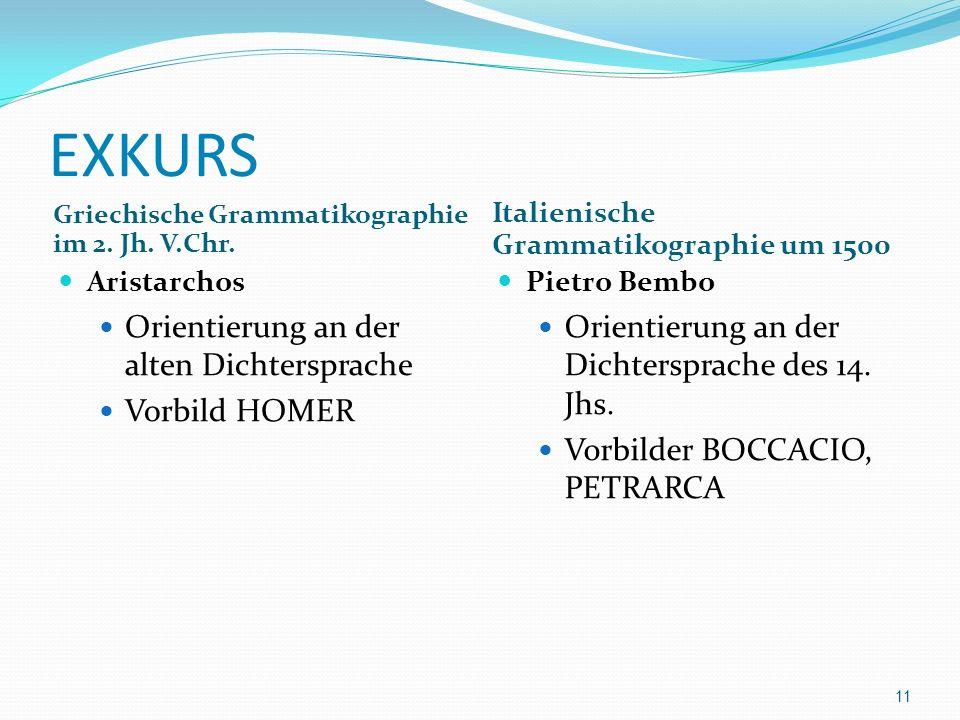 EXKURS Orientierung an der alten Dichtersprache Vorbild HOMER