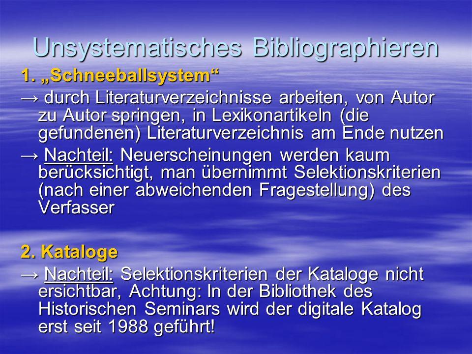 Unsystematisches Bibliographieren